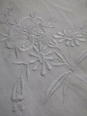Antique Edwardian Bolster Case Sham- Pretty Embroidered Whitework Flowers
