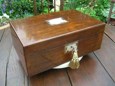 Antique Writing Slope. Victorian Rosewood & Mother of Pearl Hidden Drawers.(859)