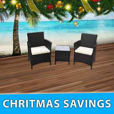 New Premium 3PC Wicker Rattan Outdoor Black Furniture Garden Chair Table Setting