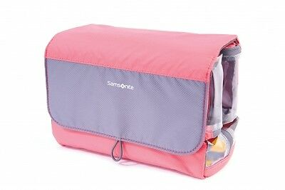NEW Samsonite Travel Accessories Roll-Up Toiletry Kit, Large, in CORAL/GREY