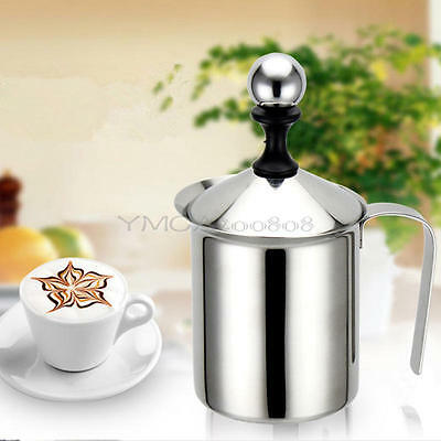 400ML Stainless Steel Milk Frother Double Froth Pump Milk Creamer Coffee Foamer