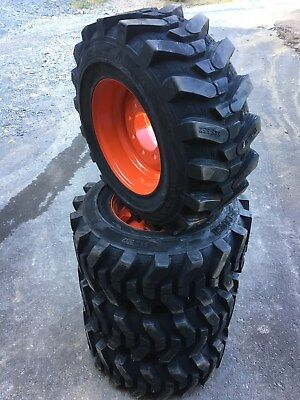 4-12X16.5 HD FOAM FILLED Skid Steer Tires-Wheels/Rims for Bobcat-12-16.5-NO FLAT