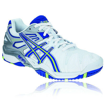 ASICS Gel-Resolution 5 Womens White Blue Tennis Court Sports Shoes Trainers