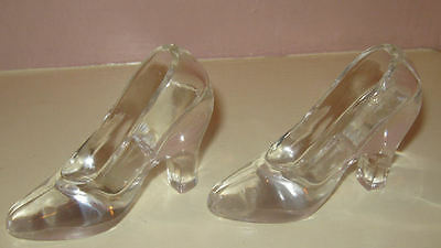 Pair of Clear Cinderella Style Vintage Glass High Heel Slippers Shoes
