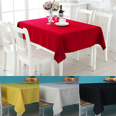 Rectangle Cotton Blend Table Cloth Cover Wedding Birthday Party Tablecover