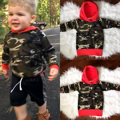 Newborn Toddler Baby Boys Clothes Long Sleeve Camo Hooded Tops Hoodie Outfit AU