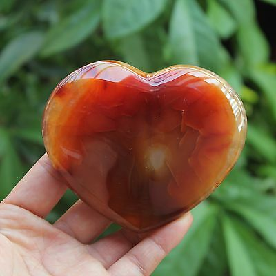 Agate Quartz crystal Heart polished Healing 259g   0242