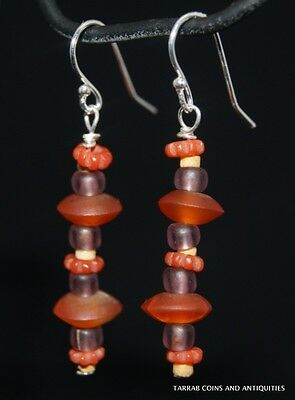 Ancient Roman Glass & Egyptian Carnelian Bead Earrings -  300 B.c - 100 A.d.!!