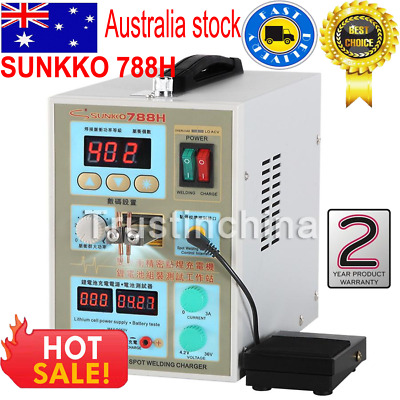 SUNKKO 788H Dual Pulse Spot Welder Welding Machine + 18650 Battery Charger AU!