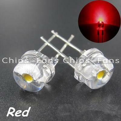 New 10PCS 0.5W 8mm Red Straw Hat High-power LED Leds Light Lamp StrawHat