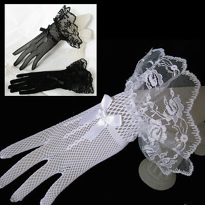 Satin Short Lace Full Gloves Bowknot Formal Wedding Bridal Party Accessory
