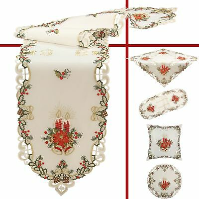Embroidered Christmas Tablecloths Table Runners Doily Pillowcase Red White Ecru