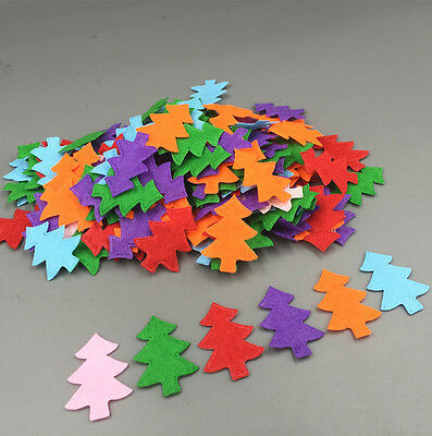 200pcs Mix Christmas tree shape Die Cut Felt Cardmaking decoration Appliques
