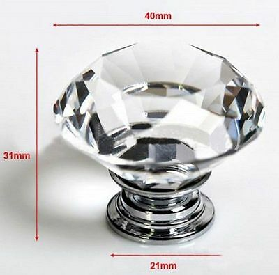 10pcs 40mm Large Clear Crystal Glass Door Knob Drawer Cabinet Kitchen Handles
