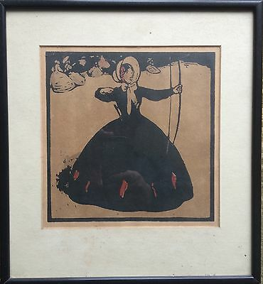 ARCHERY JULY  WILLIAM NICHOLSON GENUINE ORIGINAL LITHOGRAPH WOODBLOCK c1898