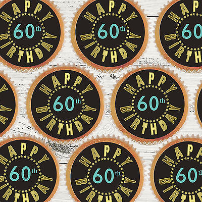 24 X 60TH BIRTHDAY BLACK GOLD BLING Edible Cupcake Wafer Icing Cake Toppers