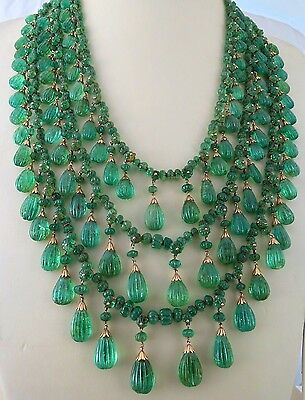 Antique Old Mines Natural Emerald Carved Melon Briolette Drops 18Kgold Necklace