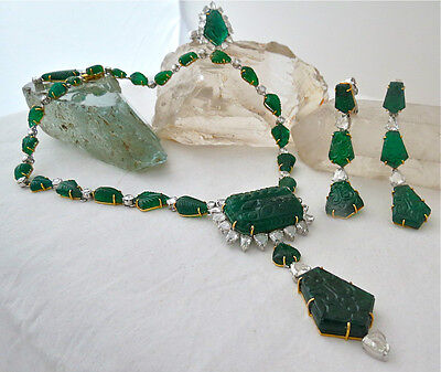 Collectors Antique Old Mine Emerald Carved Rosecut Diamond 18K Gold Necklace Set
