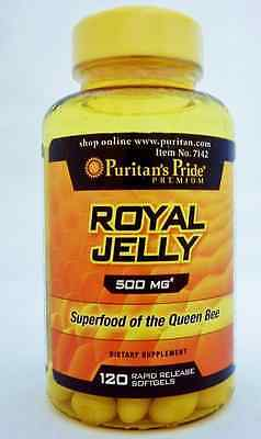 Royal Jelly 500 Mg 120 Softgels By Puritan's Pride *fast Dispatch*