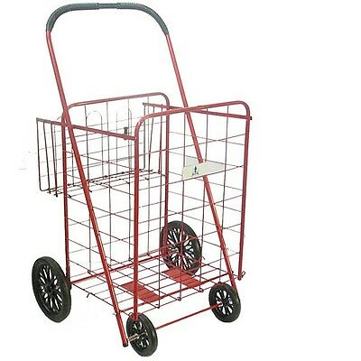 Extra Large Heavy Duty Shopping Cart Wheels Red Folding Grocery Basket Oversized