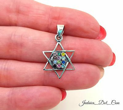 Star Of David Pendant Hoshen 12 Tribes Of Israel 925 Sterling Silver Necklace