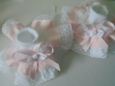 Girls Romany Bling School Dance Party Wedding Frilly Socks In Baby Pink