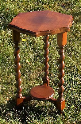 Small Barley Twist Wooden Octagonal Side Table Pedestal Plant Stand 2 Tier