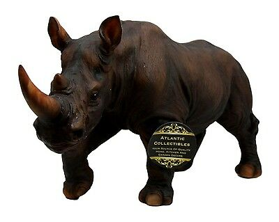"11"" Wide African Grasslands Wild Animal Rhinoceros Rhino Decorative Figurine"
