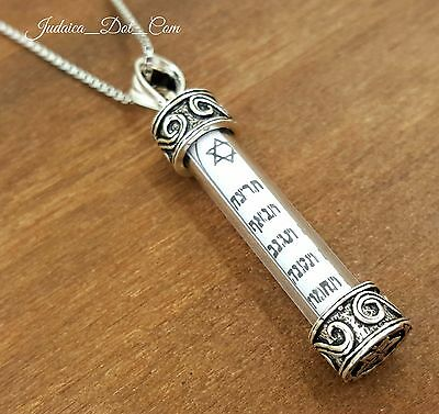 Sterling Silver Mezuzah Necklace Pendant With Scroll Judaica Ten Commandments