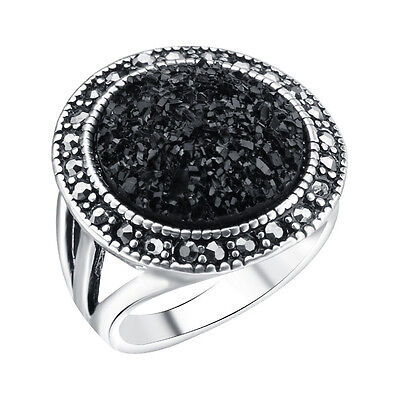 Black Onyx Micro Stone Fashion Ring with Marcasites gems Women's Asphalt Style!