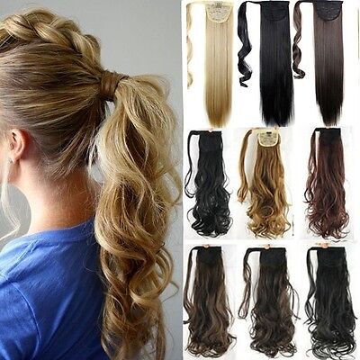 UK 100% Real Human Made Clip In Hair Extension Pony Tail Wrap Around Ponytail LD