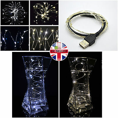 20 30 40 Micro LED Silver Wire Christmas USB Fairy Lights Warm White Waterproof