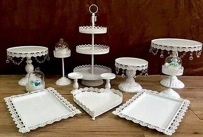 Set of 12 pieces Whit cake stand wedding cupcake stand set candy bar decoration