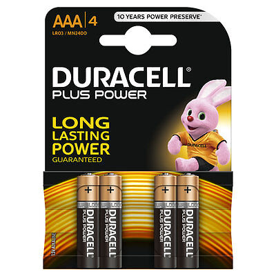 4 x Duracell AAA Alkaline -  PLUS POWER - LR03 1.5V Batteries LR03 / MN2400