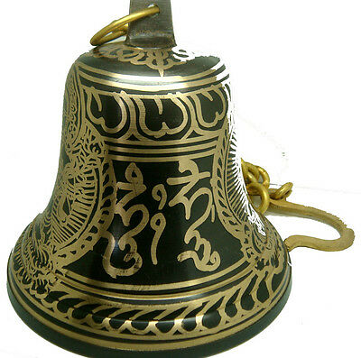 Set Of 3 Buddhist Collectible Hand-Painted Hanging Temple Bells In Heavy Brass.