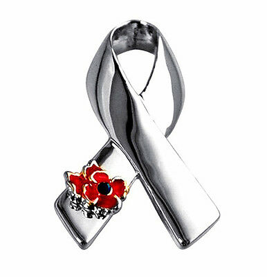 Silver Ribbon with Symbolic Day Poppy Flower Awareness Bow Pin Brooch BR397
