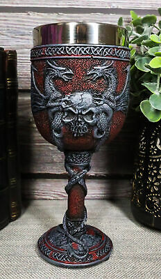 """6.75"""" Tall Double Dragon Skull Crest Guardian Wine Drink Goblet Chalice Cup 6oz"""