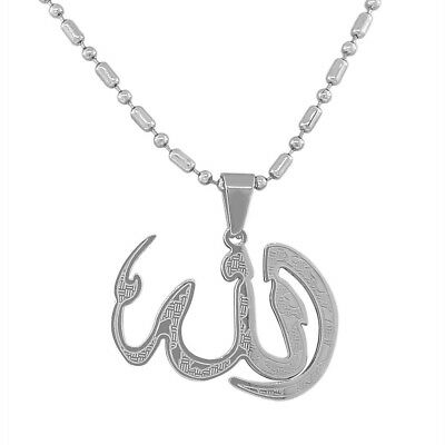 Stainless Steel Silver-Tone Muslim Islam God Allah Pendant Necklace with Chain
