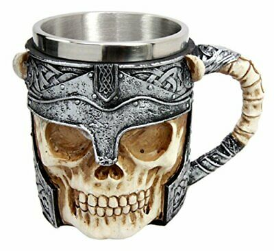 "6"" Long Viking Demon Warrior Helmet Skull Beer Stein Tankard Coffee Mug Cup"