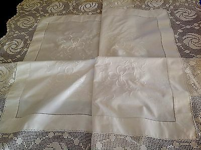 Vintage Embroidered White Linen Tablecloth Hand Crochet Lace Table Cloth 47x47""