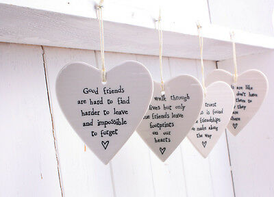 East of India Porcelain Friendship Heart Angel Butterfly Bird Plaques