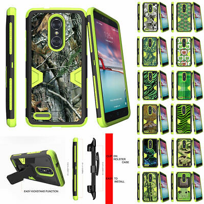 For ZTE Z MAX PRO | ZMAX Pro Carry Z981 Holster Clip Green Case Shock Combo
