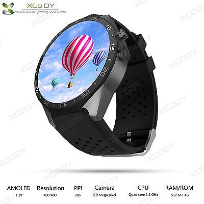 1.39'' KW88 Androide 5.1 Quad-Core 4GB Bluetooth 3G SmartWatch Montre WIFI GPS