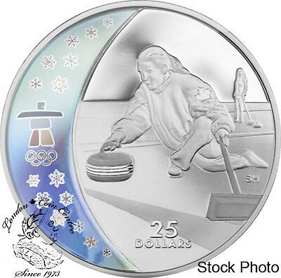 Canada 2007 $25 Olympic Curling Silver Hologram Coin
