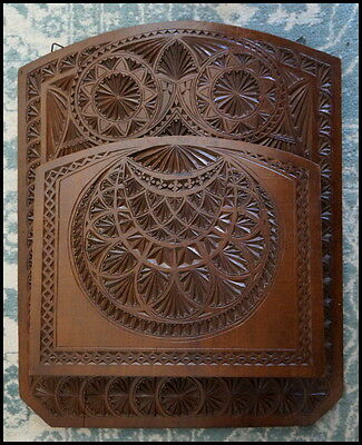 Antique Frisian Wooden Chip Carved Mounted Paper Letter Magazine Holder Dutch.