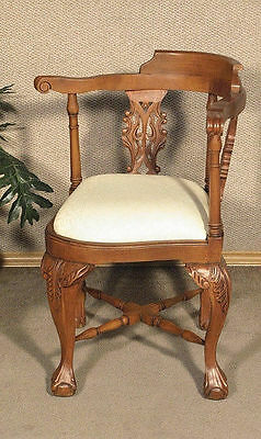 Solid Mahogany Chippendale Claw & Ball Corner Arm Chair  (so)