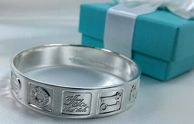 Tiffany & Co. Iconic Lexicon Makers Mark Bangle Medium Cuff Bracelet Silver 925