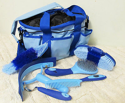 Showman 6 Piece Soft Grip Grooming Brushes Set w/Nylon Carry Tote Light Blue