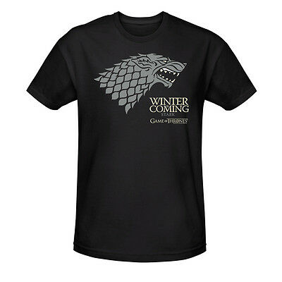 Game of Thrones Stark Winter is Coming T-Shirt Black Licensed NEW