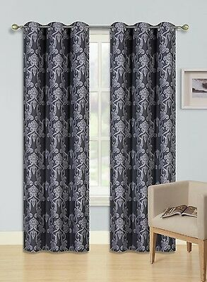 """2 Grommet Printed Panel 2 Tone Foam Lined Blackout Window Curtain Cole Ivory 84"""""""